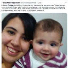 Lawyerr Busra Cinkara and baby Miray.